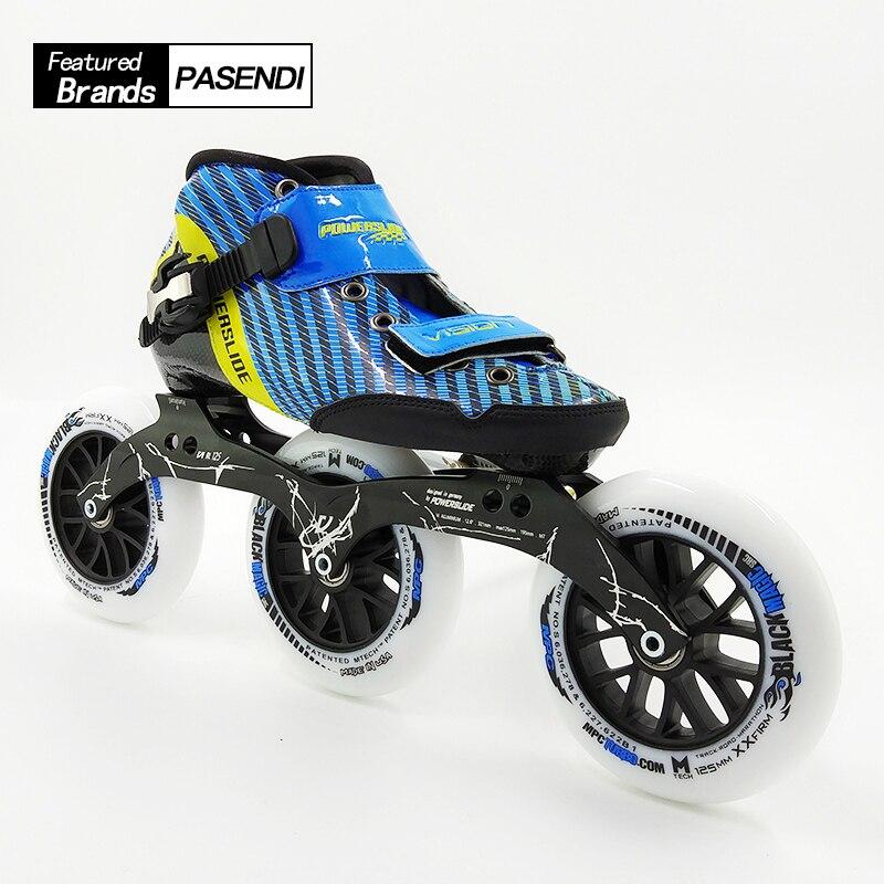2018 nouveauté chaussures de patinage à roulettes femmes/hommes patins à roues alignées bottes de patin de vitesse professionnel adulte 125 roues chaussure en Fiber de carbone