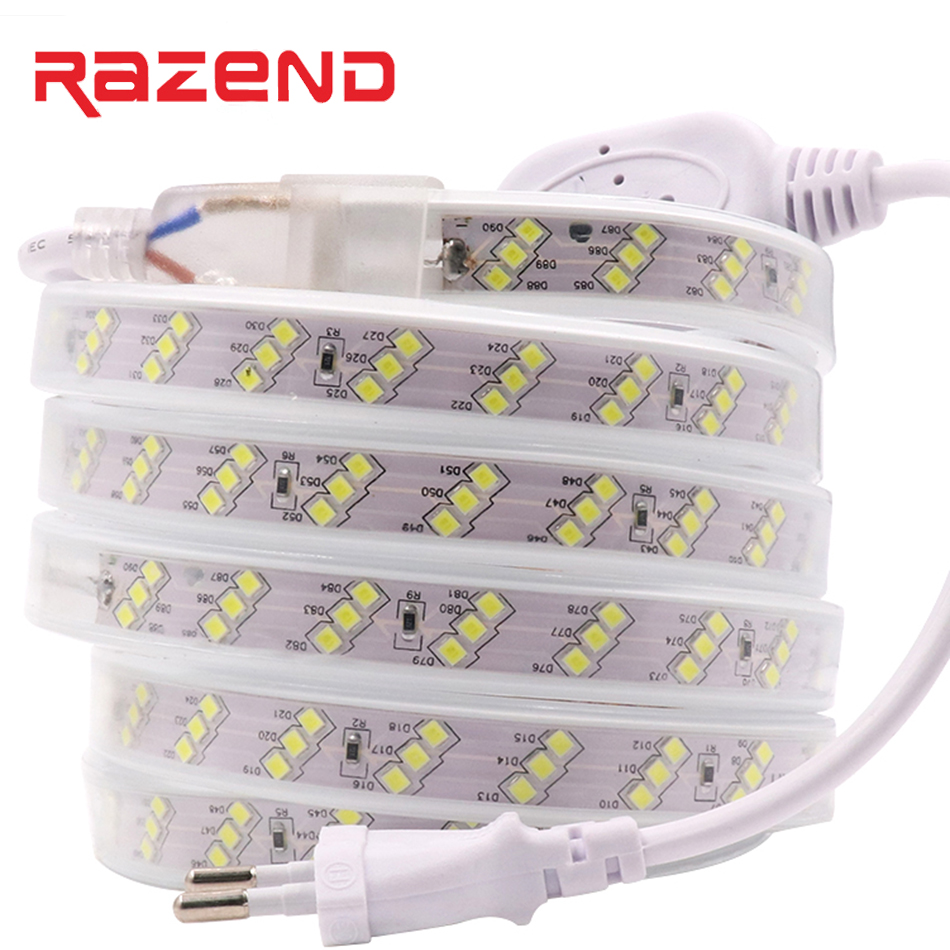 Waterproof Led Strip 220V 2835 SMD 180Leds/m Three Row Flexible Tape Lights Cold White/warm White 1m 2m 5m 10m 15m 20m 50m 100m