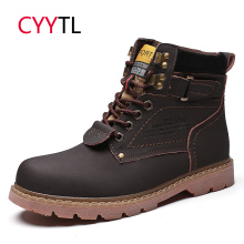 CYYTL Men Motocyle Boots Leather Work Safety Shoes for Men Winter Timber Land Soft Erkek Bot Military Botas Hombre Masculina купить недорого в Москве
