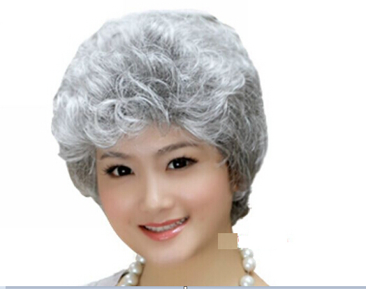 Grandma white hair Fashion men s wigs Sell like hot cakes elderly ladies wig  silver + white hair curl wigs 05cd5adfba