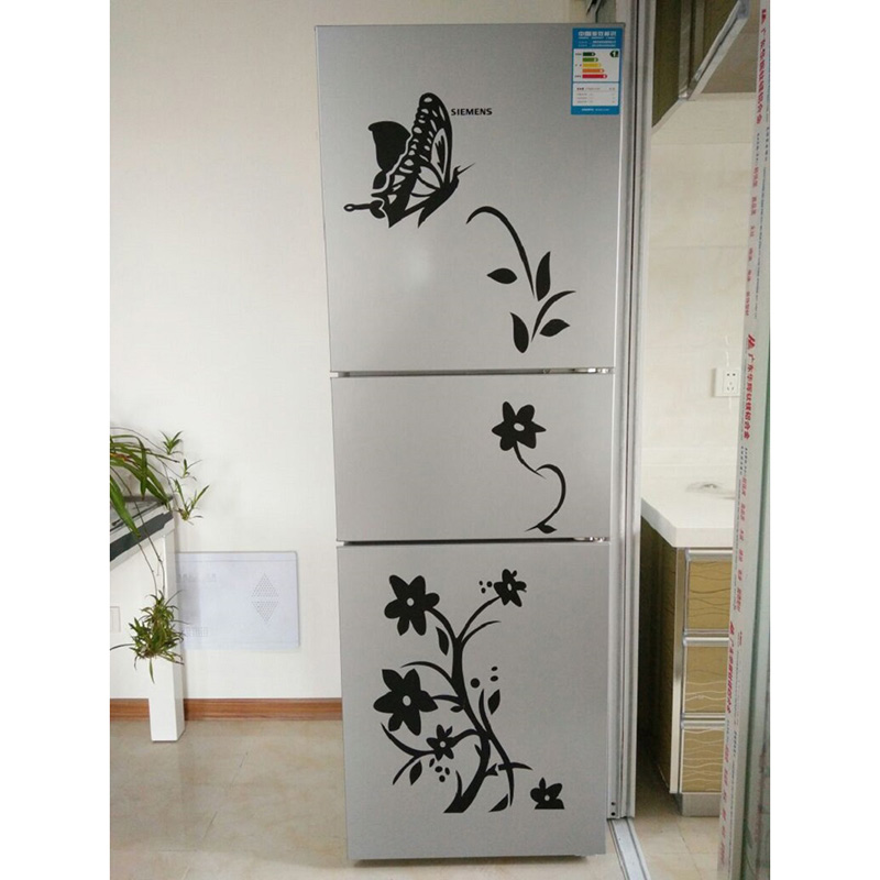 Home & Garden ... Home Decor ... 32763304117 ... 2 ... High Quality Creative Refrigerator Black Sticker Butterfly Pattern Wall Stickers Home Decoration Kitchen Wall Art Mural Decor ...