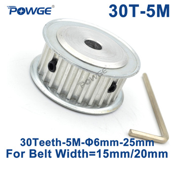 POWGE 30 Teeth HTD 5M Timing Synchronous Pulley Bore 5/6/6.35/8/10/12/14/15/16/17/18/19/25mm for Width 15/20mm HTD5M 30Teeth 30T timing pulley 5m 30t bore 6 6 35 8 10 12 12 7 14 15 16 17 19 20 mm pulley slot width 16 21 mm for width 15 20mm 5m timing belt