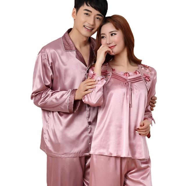 Plus Size 4XL Lover Sleepwear Set Casual Satin 2PCS Shirt Pants Couple Home  Wear Long Sleeve Pajamas 58933538c