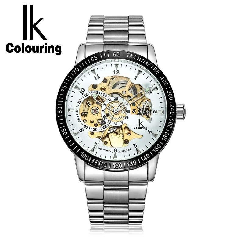 IK Colorier Religios Masculino Argent Steel Band Or Squelette Fantaisie Bleu En Verre Automatique Mécanique Montre-Bracelet Relojes Hombr