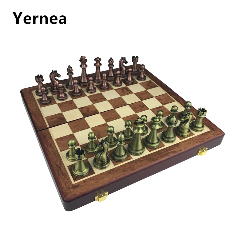 Classic  Zinc Alloy Chess Pieces Wooden Chessboard Chess Game Set With King Height 6.7cm Outdoor Game High Quality Chess Yernea
