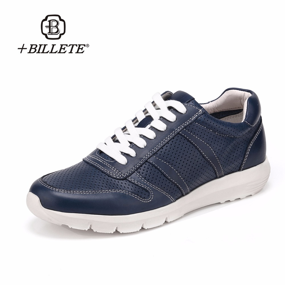 Billete Brand 2017 Autumn New Trendy Shoes Quality Genuine Leather Soft Tenis Mesh Casual Brogue Style Men's Shoes