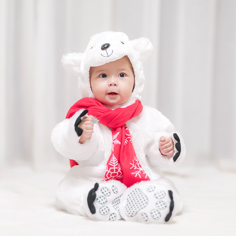 Newborn Baby Polar Bear Halloween Anime Animal Costume Christmas Cosplay Dress For children boys Hooded Footies Onesie Outfit