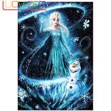 5D DIY Diamond Painting Cartoon Princess Embroidered Cross Rhinestone Mosaic Christmas Home Decoration Gift