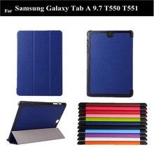 2015 nueva A 9.7 Liche patrón Pu cuero de la cubierta para Samsung Galaxy Tab A 9.7 T555 T550 del cuero del soporte + protector