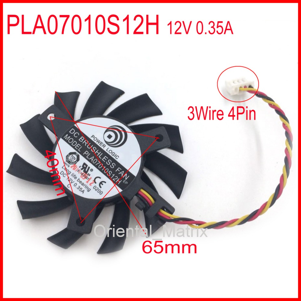 PLA07010S12H 12V 0.35A 65mm 3Wire 4Pin For MSI Graphics Card Cooling Fan free shipping t128015su msi r4770 hd4770 4pin pwn graphics card fan
