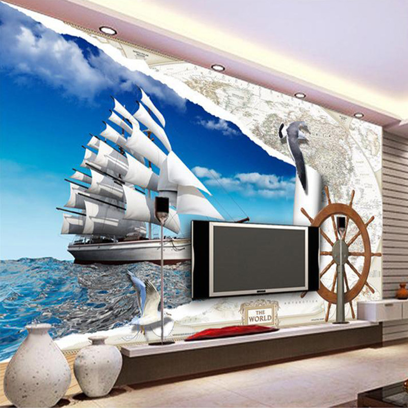 Custom Mural Wallpaper European Style Map 3D Roman Sailing Rudder Seagull Wall Painting Living Room TV Backdrop Photo Wallpaper