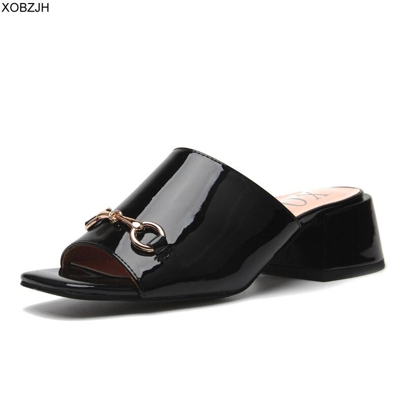 Été bloc talon luxe sandales femmes chaussures 2019 G Style marque sans lacet sandales de créateur dames noir rouge pantoufles chaussures femme