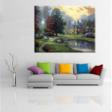 Pretty Courtyard Bridge Lake Country Cottage Thomas Kinkade Lakeside Manor Painting Print on Canvas for Room Wall Art Decor цена 2017