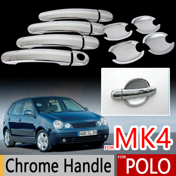 For VW POLO Mk4 2002-2008 Chrome Door Handle Covers for Volkswagen 9n 9n3 CrossPolo Vivo Sedan Accessories Stickers Car Styling image