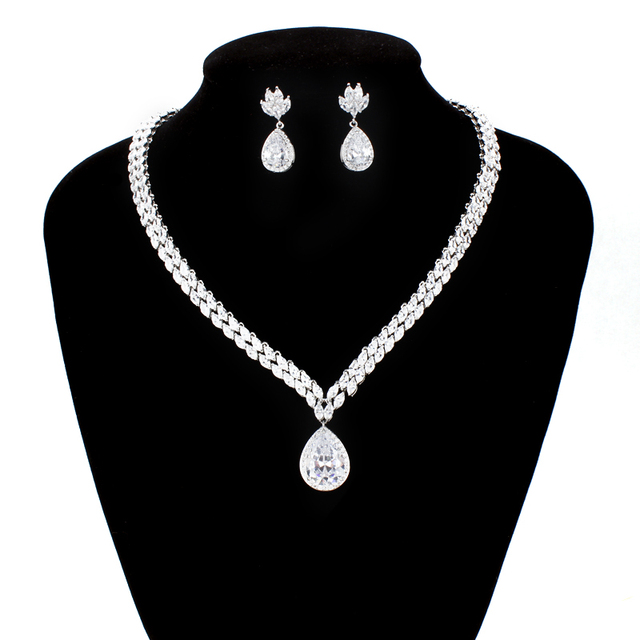 Luxury Marquise Cut Cubic Zirconia Crystal Tennis Necklace and Earring Bridal Wedding Jewelry Set in Platinum Plated