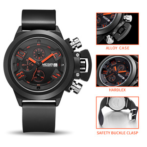 Image 2 - MEGIR מקורי שעון גברים ספורט קוורץ גברים שעונים הכרונוגרף שעון יד Relogio זמן שעה שעון Reloj Hombre Mens שעונים