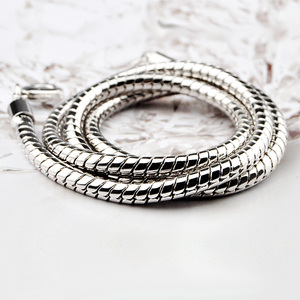 Image 5 - Hip hop hippie 925 sterling silver choker necklace 4 mm 22 inches snake chain men collier collar best friends Wholesale sales
