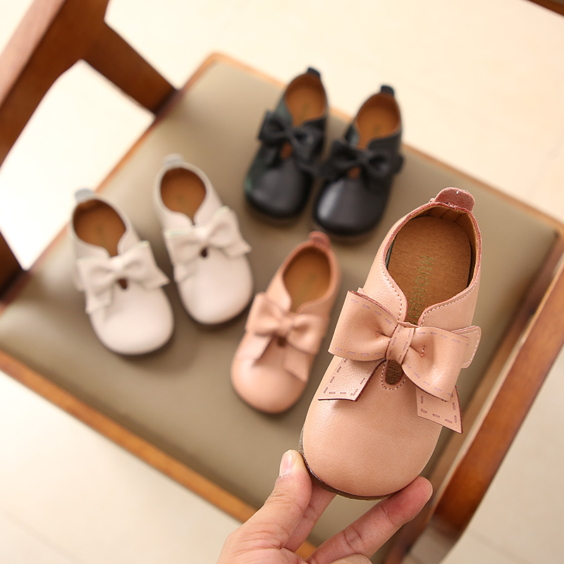 New Toddler Baby Little Girls Bowknot Flat White Black Pink Casual Leather Shoes For Girls School Shoes 1 2 3 4 5 6 7 8 9 Years