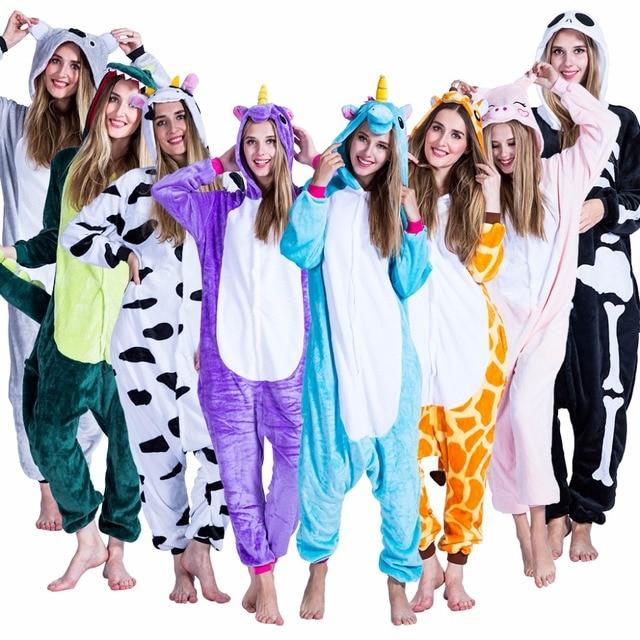 Halloween Costume For Women Plus Size Cow Rabbit Panda Dinosaur Animal Cosplay Adult Unicorn Pajamas Overall Pyjama Strampler