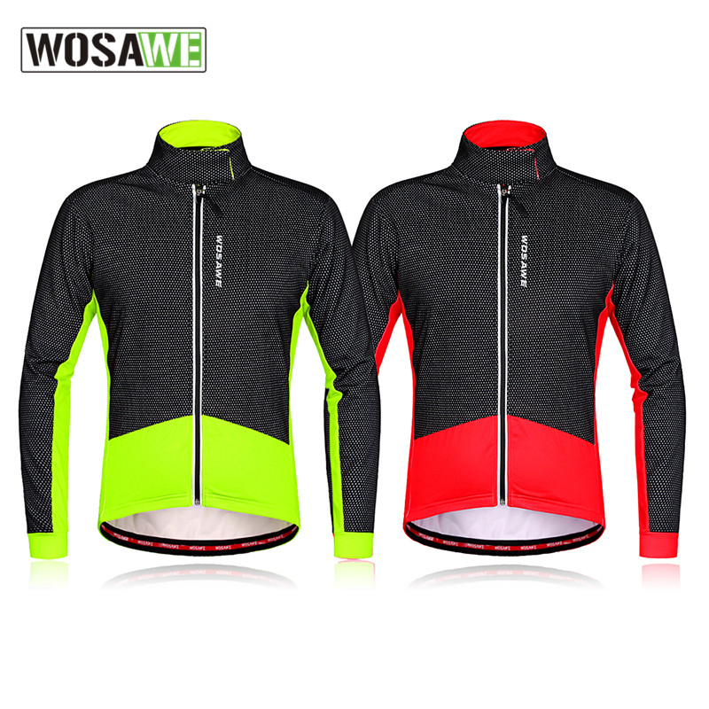 Wosawe 2 Colors Professional Cycling Jacket Winter Outdoor Sports MTB Bike Windproof Breathable Thermal Fleece Warm Jersey*  wosawe outdoor sports windproof winter long sleeve cycling jacket unisex fleece thermal mtb riding bike jersey men s coat
