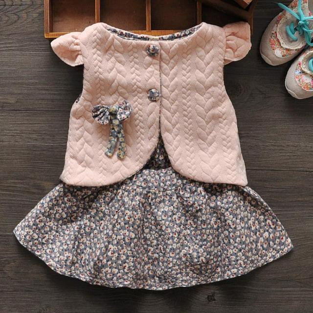 New 2017 Spring Baby Girl Cotton Dresses Sleeveless Beautiful Flower Baby Kids Clothing Free Shipping