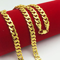 Hip Hop Gold Chains For Men Women Boys Fashion Jewelry  20'' 7MM  Gold Plated Carve Cuban Chain Necklace 50cm