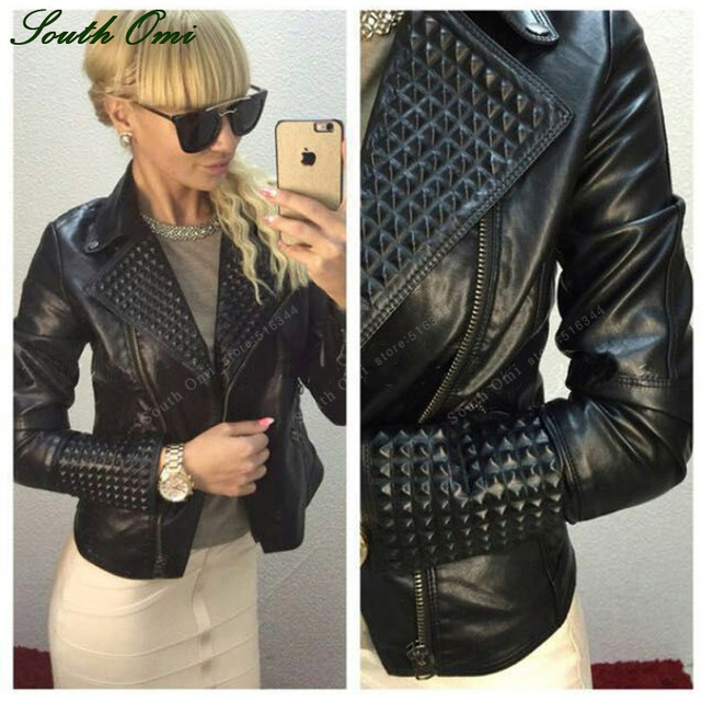 Faux Leather Jacket Women Stud/rivet Moto Biker Zip Coats chaqueta Blazer  PU Jack jaqueta couro Rock cuir femme casaco 2018-in Leather & Suede from  Women's ...