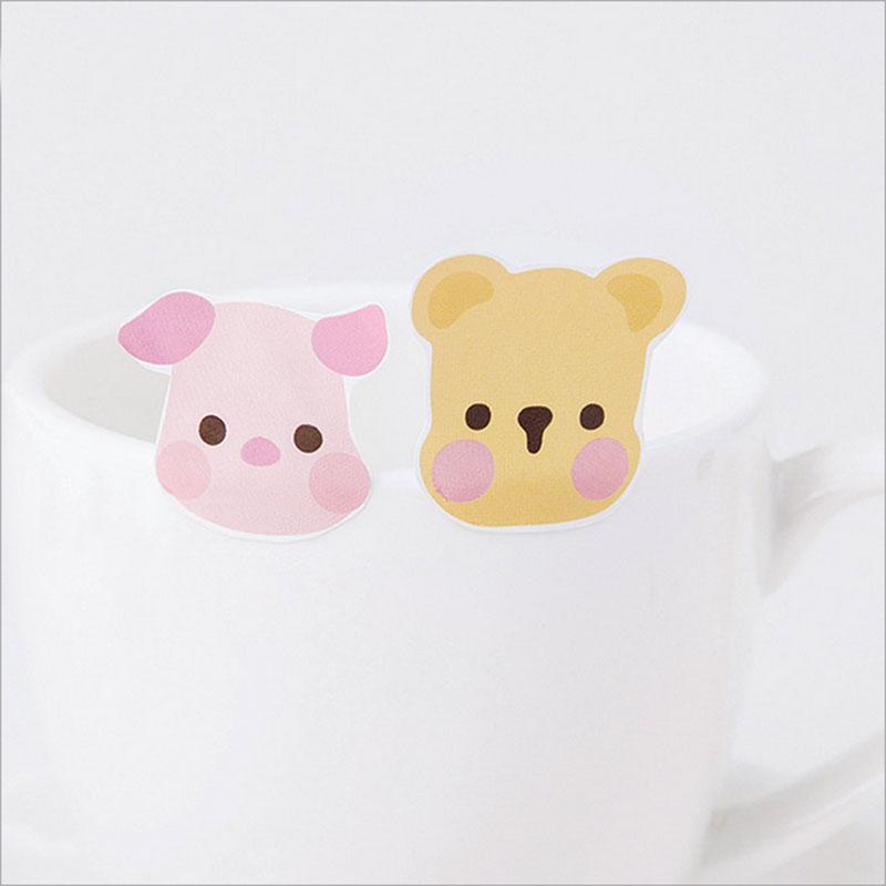 Купить с кэшбэком 45 pcs/lot Cute Animal avatar mini paper sticker Decoration DIY Scrapbooking Sticker Stationery kawaii diary label stickers