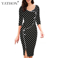 YATHON Polka Dot Office Work Pencil Dress Women Elegant Autumn Deep O Neck Patchwork Retro Casual