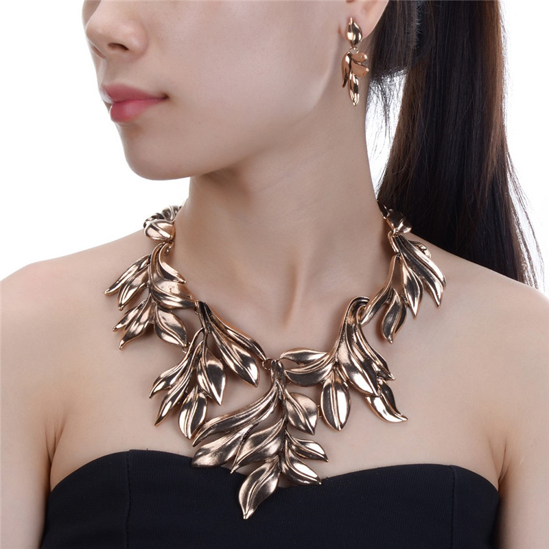 JEROLLIN Leaf Wedding Jewelry Sets Fashion Necklace Earrings African Jewelry Sets for Women