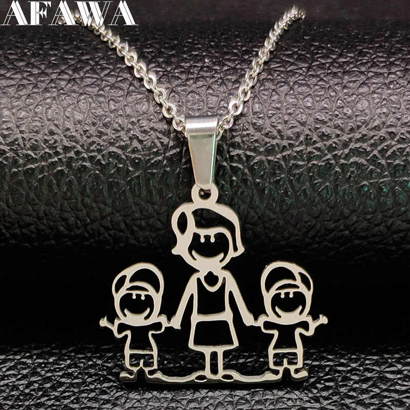 2019 Fashion MOM TWO BOYS Stainless Steel Necklaces Pendants for Women Silver Color Necklace Kid Jewelry bisuteria mujer N1875