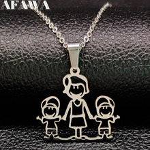MOM BOY Stainless Steel Necklaces Pendants for Women Silver Color Necklace Kid Jewelry bisuteria mujer Mother's Day Gift N324S01