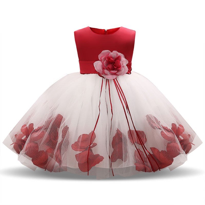 Petal flower girls wedding dress baby girls christening Tutu dresses for party occasion kids 1 year baby girl 1st birthday dress