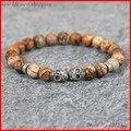 1PC Mens Skull Bracelet, 8MM Nature Picture Jasper Gem Stone Beads Bracelet ,Party Gift