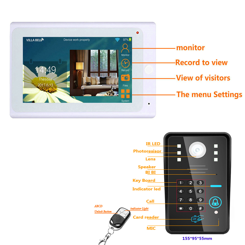 SmartYIBA 7Inch White Monitor RFID Password Wifi Wireless Video Door Phone Doorbell Camera Entry Intercom System Android IOS APP