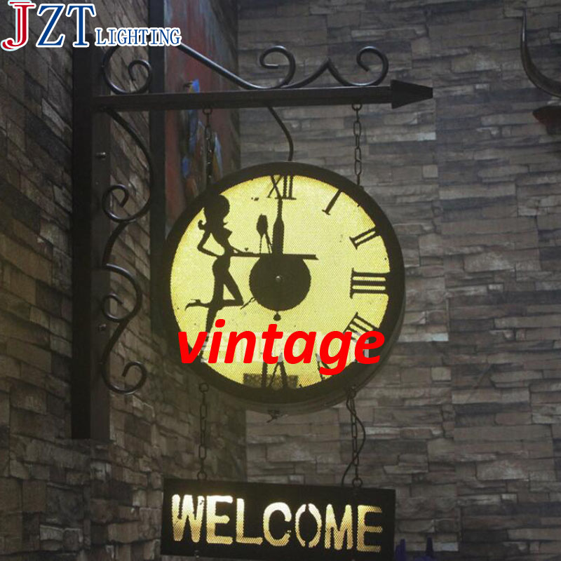 M Best Price Vintage Industrial Style Iron Clock Wall Lamp L 50*H70cm Welcome Wall Cafe Bar Restaurant Sign Custom Lights