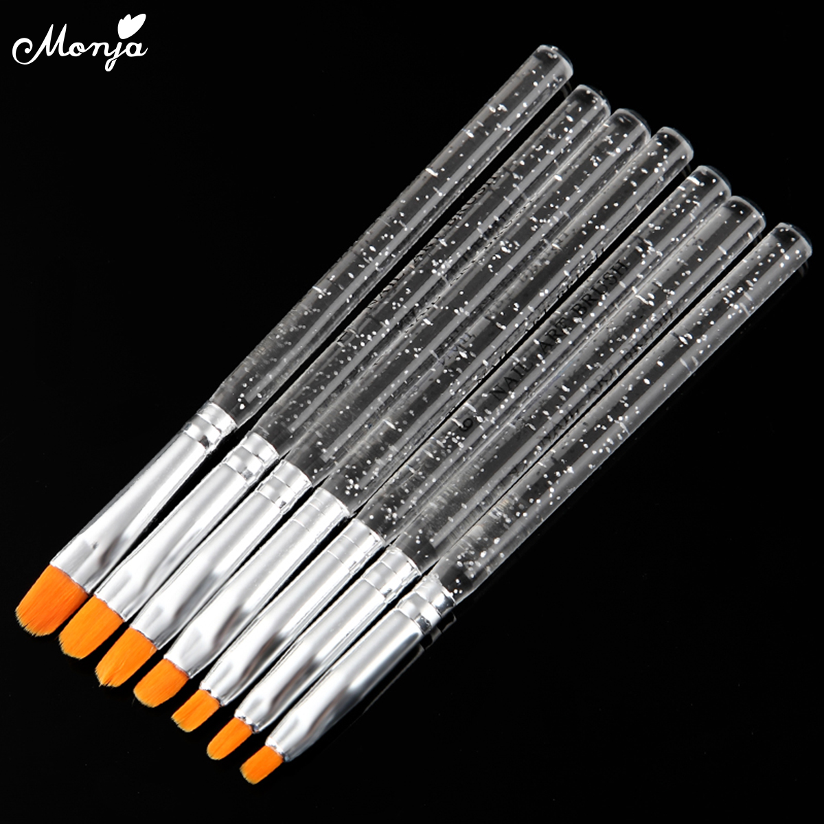 Monja 7pcs/set Nail Art Acrylic UV Gel Polish Extension Builder Painting Brush French  Drawing Pen Manicure Tools