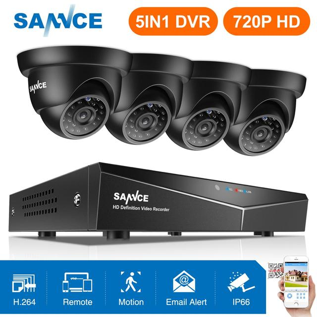 SANNCE 4CH 720P CCTV System 1080N HDMI 5in1 DVR With 4PCS 1MP Outdoor Weatherproof Security Cameras CCTV Video Surveillance kit