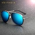 Veithdia aleación de la manera de la marca gafas de espejo de conducción gafas de sol polarizadas recubrimiento macho oculos masculino para los hombres/de las mujeres 2725