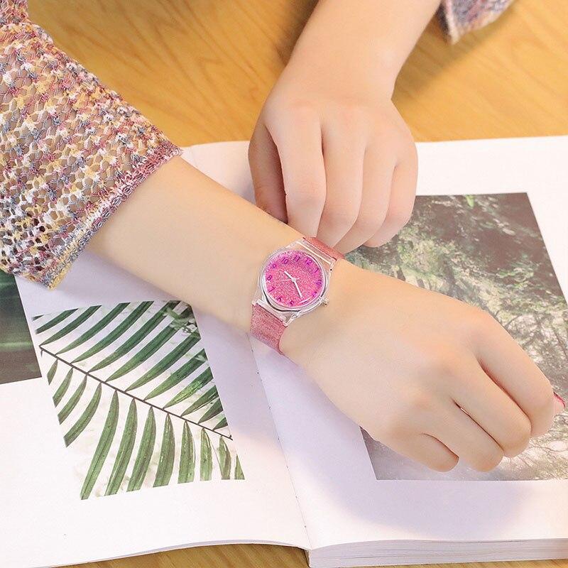 Hot Women Shiny Quartz Watch Silicone Strap Glitter Round Dial Girl Casual Wristwatch MSK66