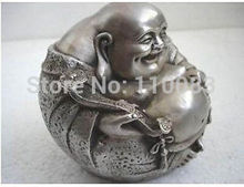 Vintage Handwork Teapot For Chinese Oriental rare luck tibetan silver smile buddha statue Antique Metal Wholesale