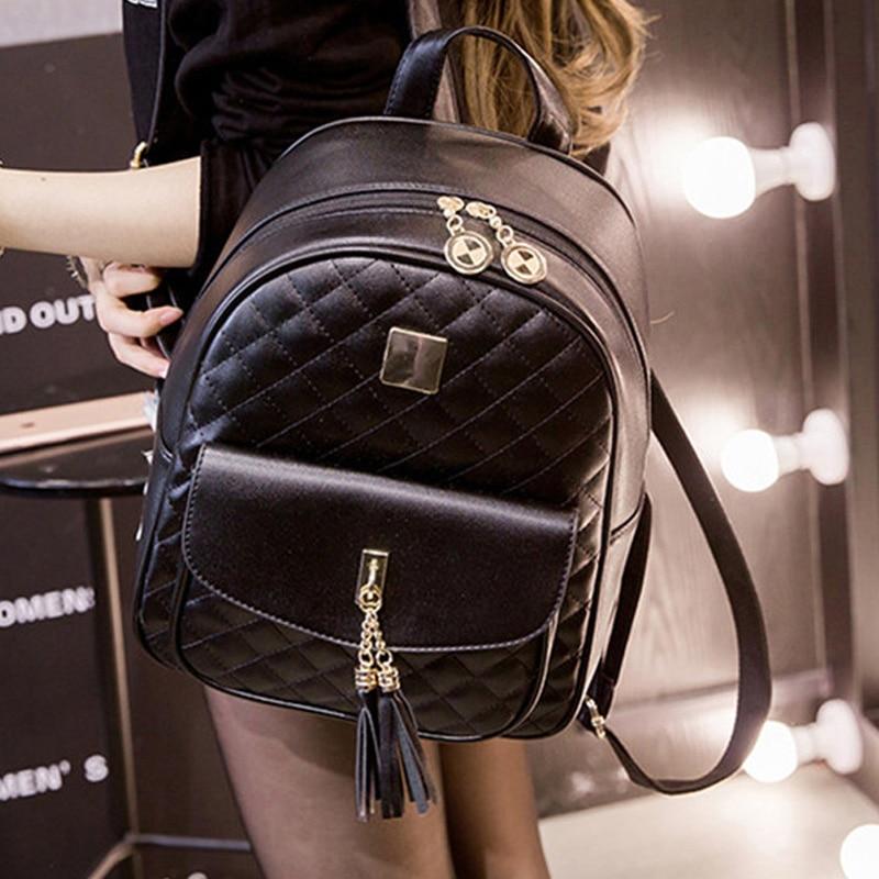 Women Fashion Casual Travel Backpack For Girls Black Grey Leather SchoolBag Backpack Mochila Feminina Backpacks Shoulder Bags