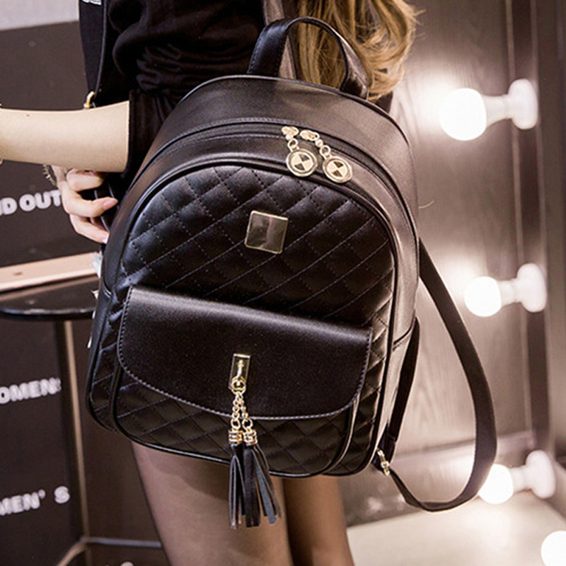 Women Fashion Casual Travel Backpack For Girls Black Grey Leather SchoolBag Backpack Mochila Feminina Backpacks Shoulder Bags
