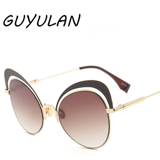 094d8f24a7ea GUYULAN New sexy Retro Cat Eyes Women Gold Sunglasses metal frame cute  black Cat Ear Sun Pink Glasses Brand free box