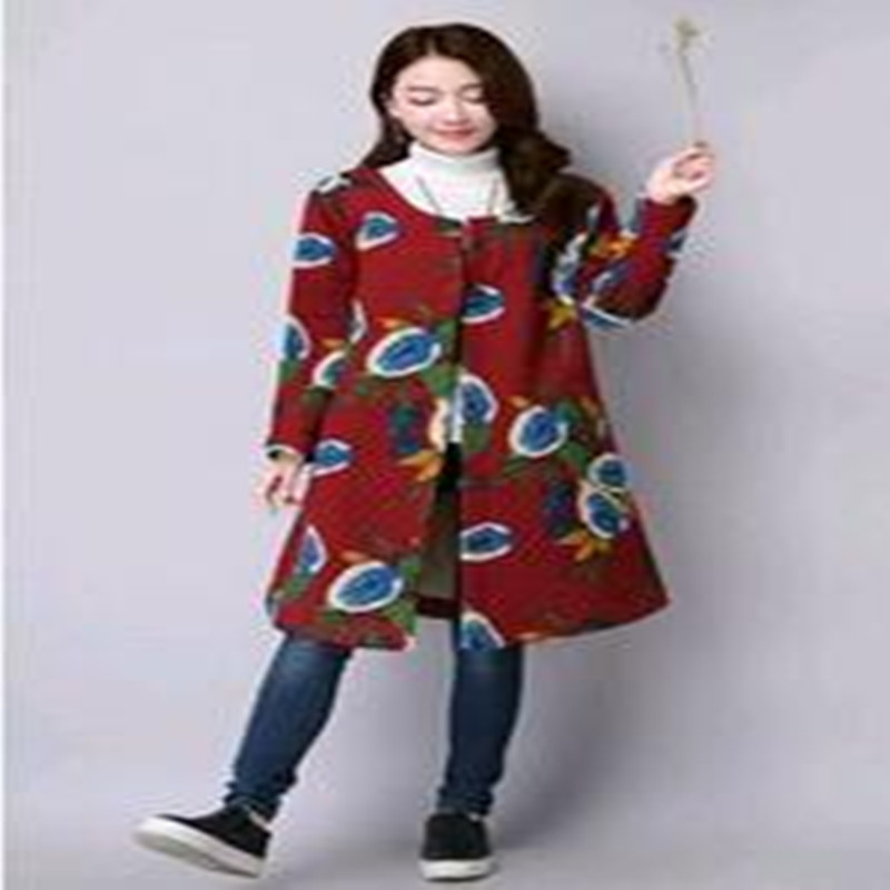 New 2017  Autumn And  Winter Stamp Size Thick  Cotton  Loose  Wire  Single  Breasted  Long  Cardigan  Coat 2016 autumn and winter new one breasted