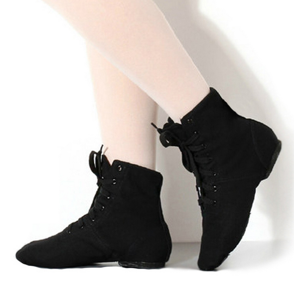 Top Modern Canvas Jazz Ballet Dance Shoes Split Heels Soft Sole Black For Men Women DS002-5