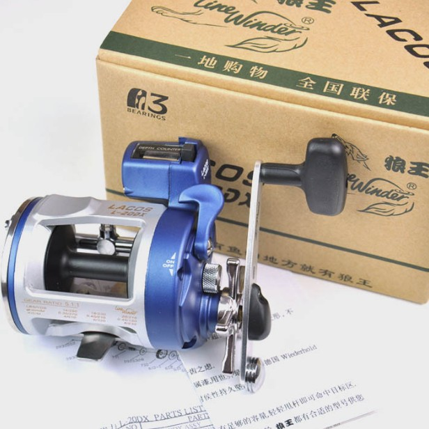 1pc size90 long casting fishing reel trolling fishing reel trolling reel right handle left handle free shipping Boat Fishing Reel L20DX--3BB Left Or Right Handle / Trolling Wheel / Drum Reel /Counter Reel Hot Sale