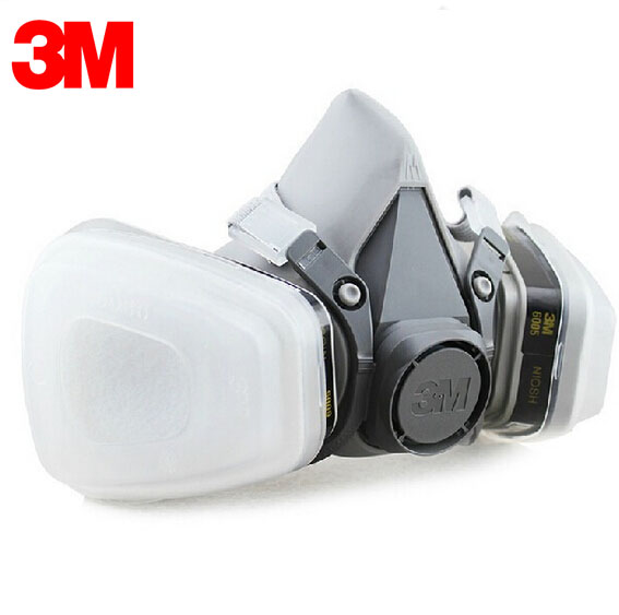 3M 6300+6005 Reusable Half Face Mask Respirator Formaldehyde/Organic Vapor Cartridge 7 Items for 1 Set LT068 3m 7501 6005 half facepiece reusable respirator mask formaldehyde organic vapor cartridge 7 items for 1 set xk001