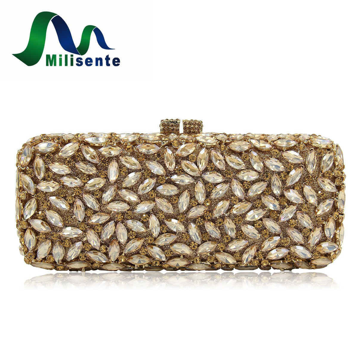 Milisente Brand Luxury Women Evening Bags Gold Fashion Diamond Crystal Party Clutch Bag Chain Wedding Clutches Purses milisente high quality luxury crystal evening bag women wedding purses lady party clutch handbag green blue gold white