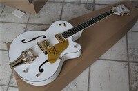 Atacado personalizado branco semi oco da guitarra elétrica, entrega grátis! alta qualidade guitarra custom shop!